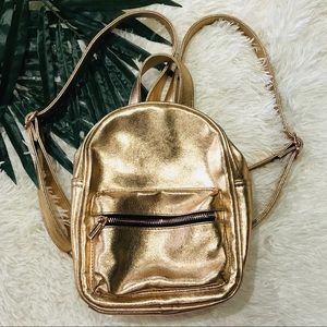 Mossimo mini backpack gold shimmer zipper pocket